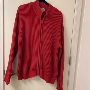 L.L. Bean XL 100% Cotton  red Cable Knit Cardigan